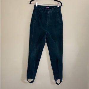 VTG Gap Corduroy Green Pants W/ Stirrups